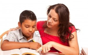 hispanic-mother-and-son-studying-isolated-on-a-white-background